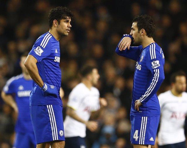 Diego Costa y Cesc Fábregas, jugadores del Chelsea