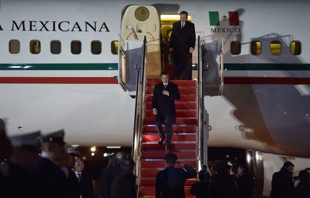 El presidente de México, Enrique Peña Nieto, llega a Estados Unidos