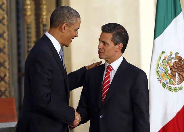 El presidente de EEUU, Barack Obama, y el de México, Enrique Peña Nieto.
