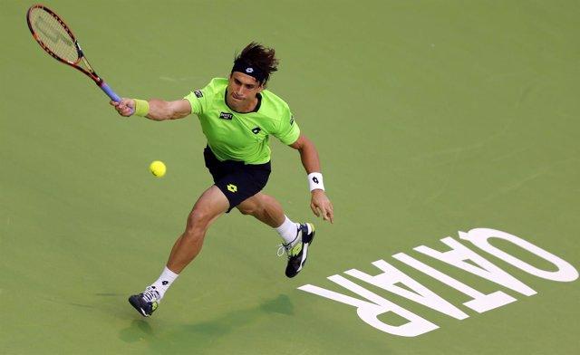 El tenista español David Ferrer en el torneo de Doha
