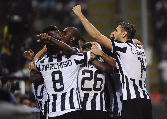 Fernando Llorente celebra un gol con la Juventus
