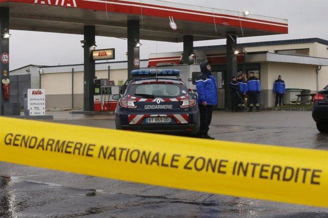 Gasolinera en Francia donde se vio a los sospechosos del atentado