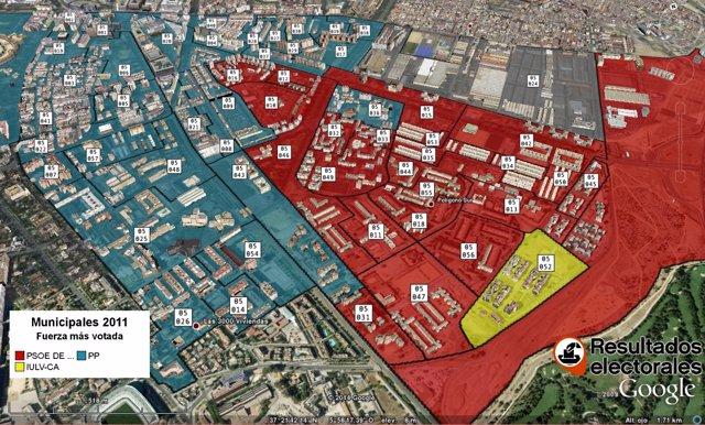 Mapa electoral recreado por la empresa.