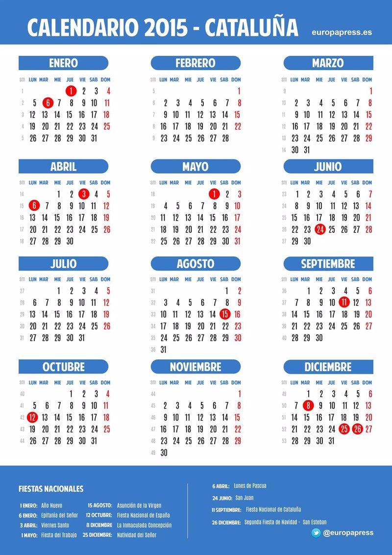 Calendario Laboral De Cataluna.Calendario Laboral Catalan 2015