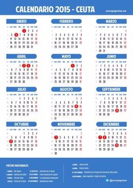 Calendario laboral para 2015 de Ceuta