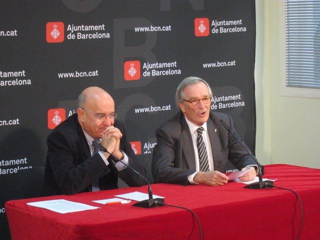 El conseller de Salud Boi Ruiz y el alcalde de Barcelona Xavier Trias