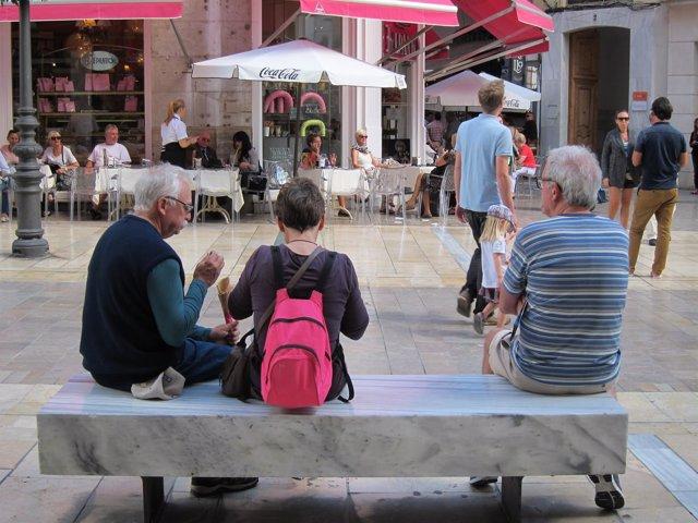 Turistas, mayores, ancianos, descanso, turismo, banco,
