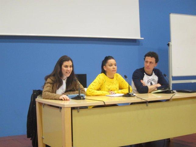 Tatiana Cardenal, Maru Díaz y Sergio Carrozo, de Podemos Zaragoza.