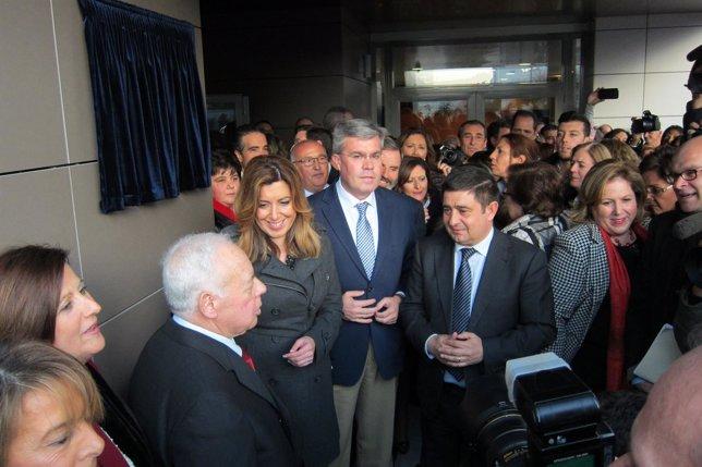 Oya, Díaz, Fernández de Moya y Reyes, en la apertura del centro de Aprompsi.