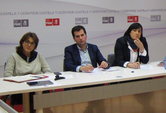 Luis Tudanca, flanqueado por Soraya Rodríguez (i) y Ana Sánchez (d)