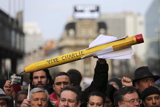 Manifestación contra el terrorismo en Bruselas