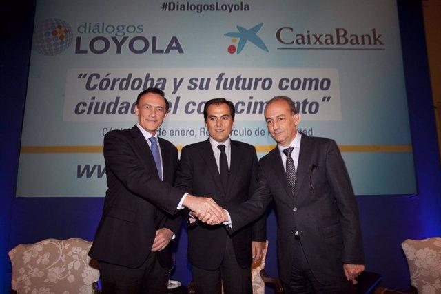 Gómez Villamandos, Nieto y Pérez Alcalá en el Foro Diálogo Loyola en Córdoba