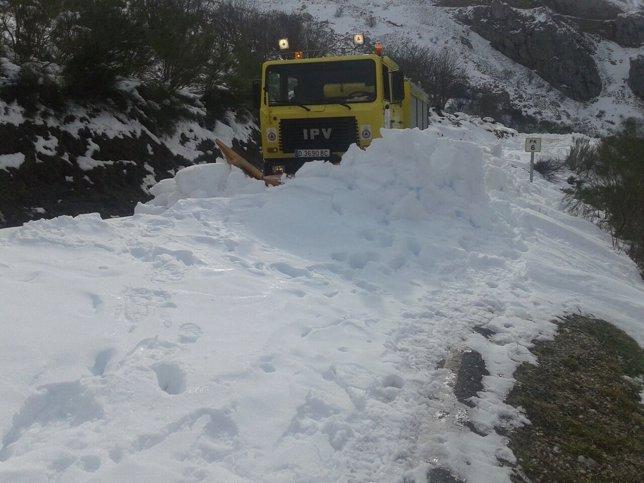 Nieve, nevada, carretera, quitanieves