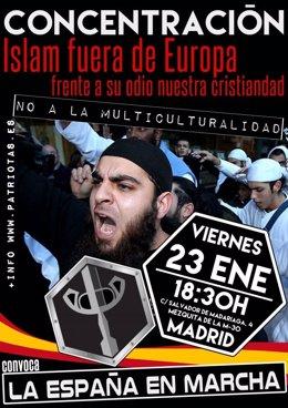 Cartel de la manifestación contra el Islam