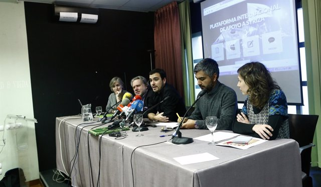 Alberto Garzón, Georgios Katrougalos, Dolors Camats y Sergio Coronado