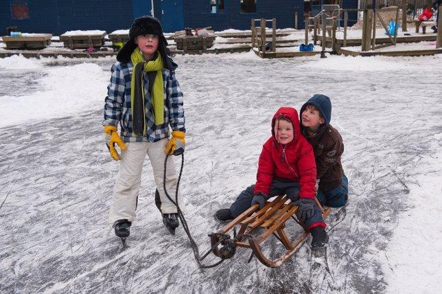 Nieve, niños, deporte niños