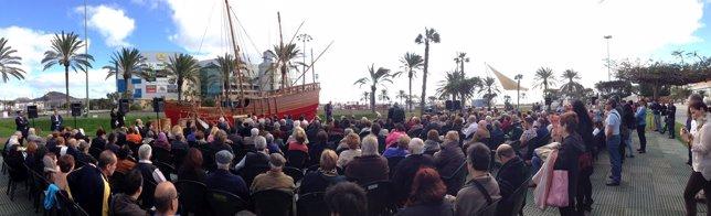 Acto para celebrar la nueva ubicación de la réplica de carabela de Colón,La Niña
