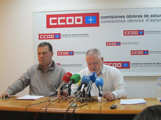 Farncisco García y Antonio Pino presentando el informe de personas mayores