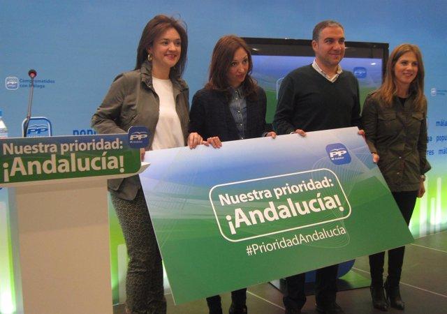 Patricia Navarro, Elías Bendodo y Ana Mestre del PP-A