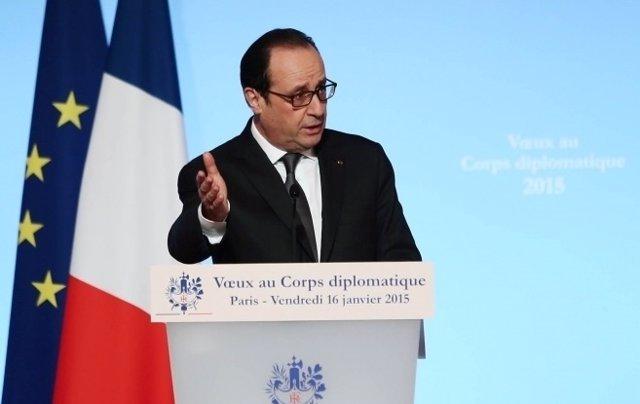 François Hollande se dirige al cuerpo diplomático