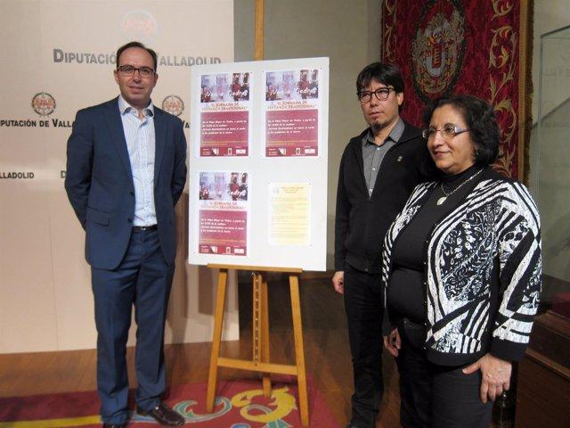 Víctor Alonso, Nunilo Gato y Concha Hurtado, en la presentación de la fiesta.