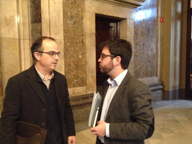 Pte.CiU en el Parlament, Jordi Turull, y portavoz de Economía de ERC, P.Aragonès