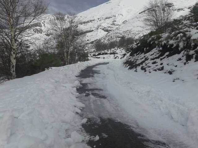 Nieve, nevada, carretera,