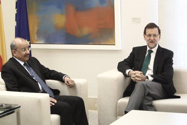 Rajoy y el ministro de Transportes de Arabia Saudí, Jubara Al Suraisry