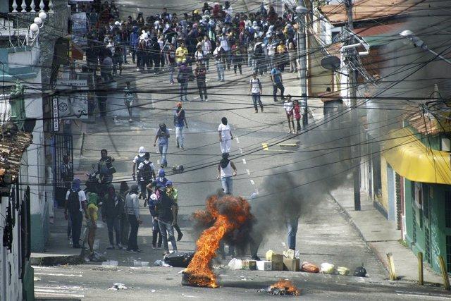 Protestas en la ciudad venezolana de San Cristóbal
