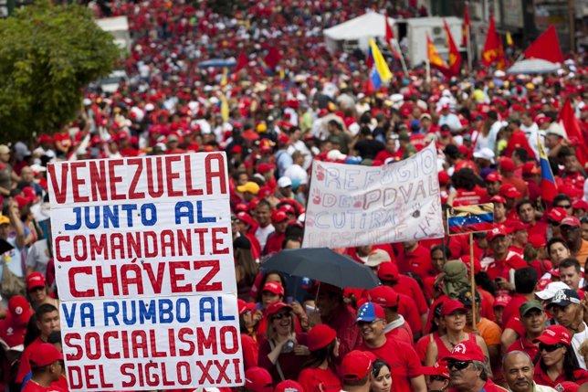 Manifestación chavista en Caracas