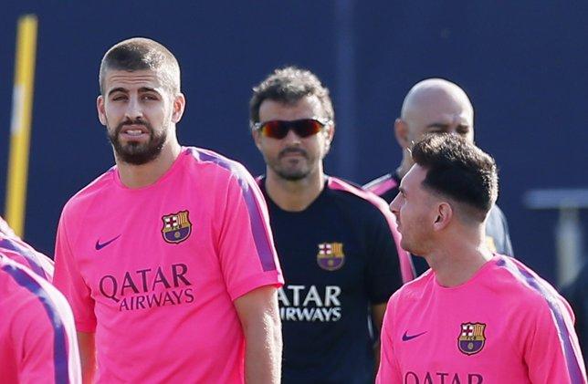 FC Barcelona Luis Enrique Gerard Piqué Messi entrenamiento