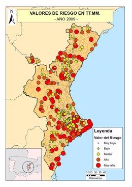 Mapa de riesgo en la Comunitat Valenciana