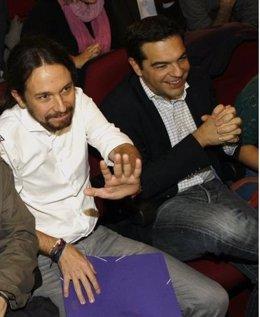 Pablo Iglesias (Podemos) y Alexis Tsipras (Syriza)