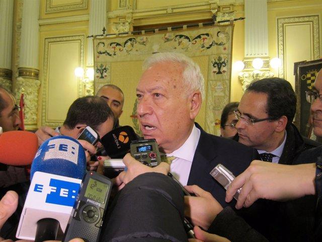 García-Margallo, durante la presentación de la muestra en Valladolid.
