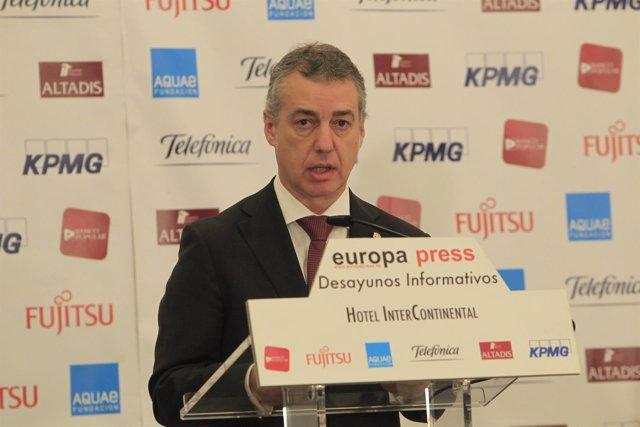 Iñigo Urkullu en los desayunos de Europa Press