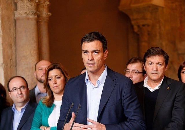 Pedro Sánchez, Susana Díaz y Javier Fernández.