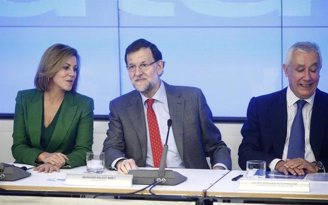 María Dolores de Cospedal, Mariano Rajoy y Javier Arenas