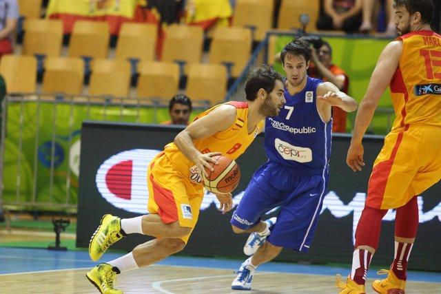 José Manuel Calderón, en el España-República Checa del Eurobasket