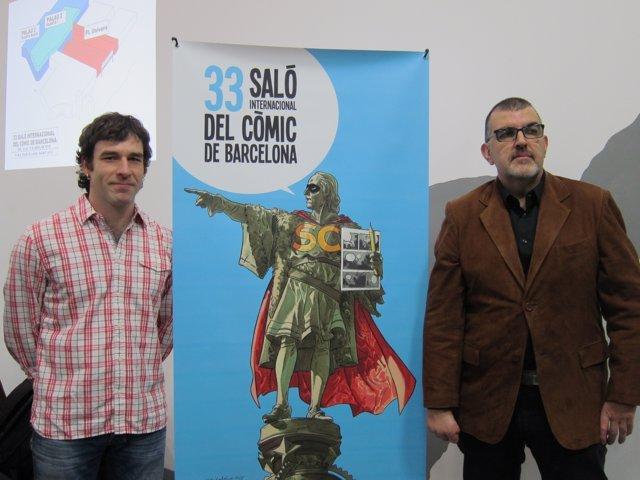 El dibujante Fer y el presidente de Ficomic, C.Santamaria