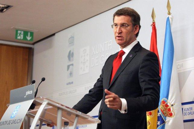 Alberto Núñez Feijóo en rueda de prensa después del Consello