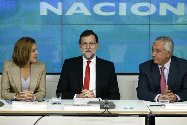 Cospedal, Rajoy y Arenas en el Comité Ejecutivo del PP