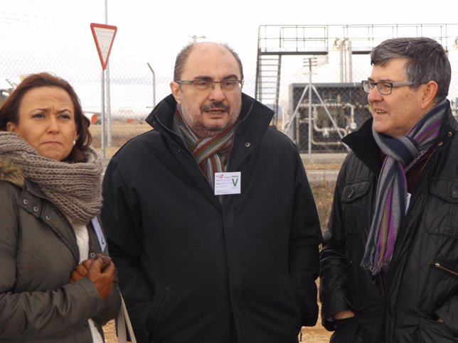 Javier Lambán, Mayte Pérez y Vicente Guillén (PSOE).