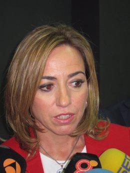 Carme Chacón en declaraciones a los medios de comunicación
