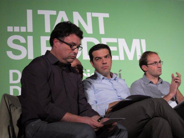 J.J.Nuet, A.Tsipras (Syriza) y J.Herrera (ICV)