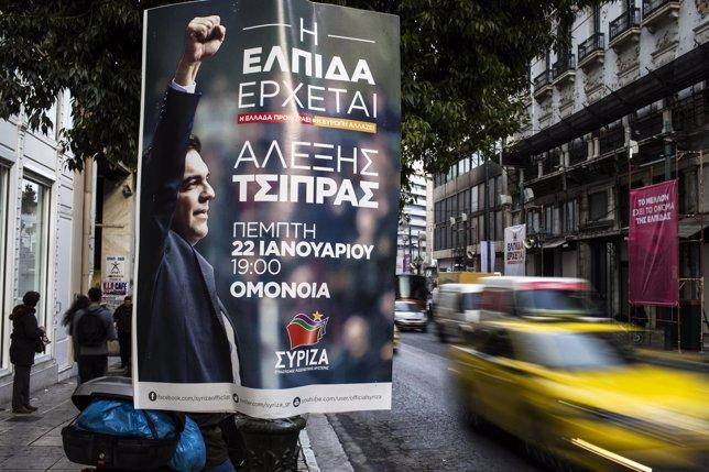 Cartel electoral de SYRIZA en Grecia