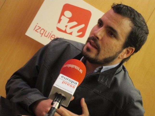 El diputado de IU Alberto Garzón en una entrevista con Europa Press