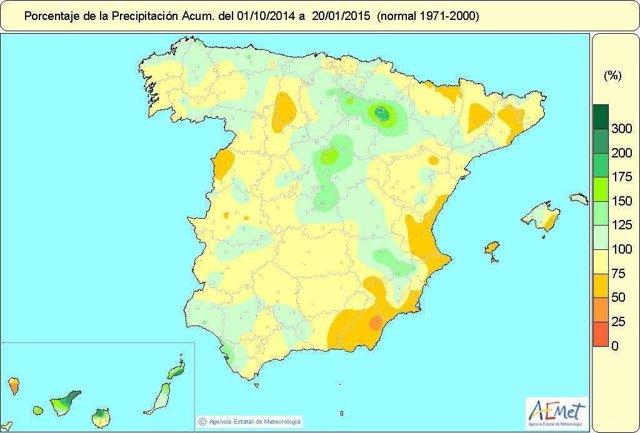 Balance hídrico en España a 20 de enero de 2015