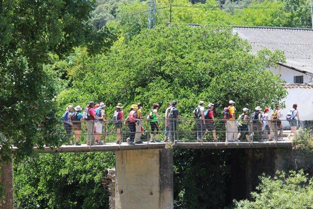 Senderismo turistas turismo viajeros visitantes rural andar mochilas