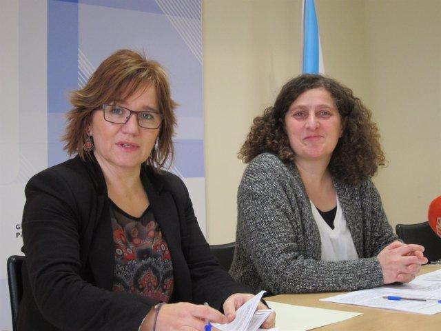Montse Prado y Goretti Sanmartín, en rueda de prensa