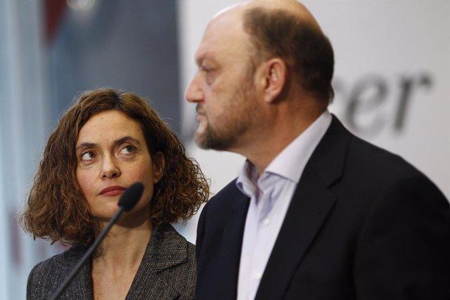 Antonio Pradas y Meritxell Batet en Ferraz